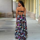 TONSEE-Women-Sexy-V-Neck-Printed-Chiffon-Maxi-Dress