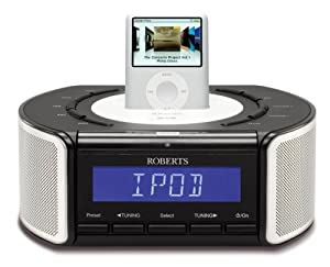 roberts idream crd42 dab fm stereo clock radio with dock for ipod tv. Black Bedroom Furniture Sets. Home Design Ideas