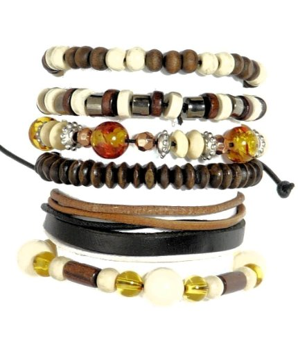 Neptune Giftware Set Of 6 Wood Bead / Cord & Leather Surf Surfer Style Bracelets Wristbands - 218