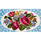 Anchor 1-Piece Latch Hook Rug Roses and Polka Dots, Multi-Colour