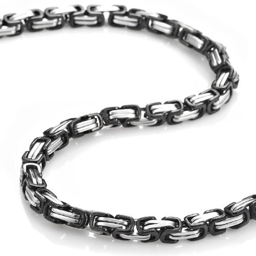 R&B Jewelry Mechanic Style Stainless Steel Mens Necklace Chain 55 cm (Silver Black)