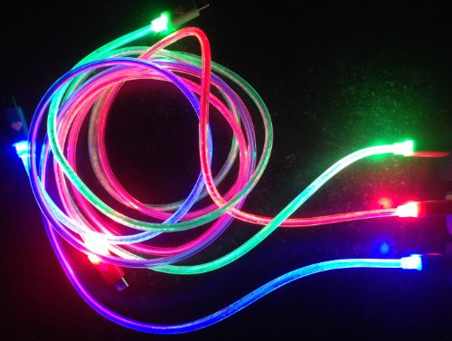 "Ntj Glow-In-The-Dark Led Light Up 39"" Long Solid One Light Color Tangle Free Micro Usb Pin Charging Data Sync Cable For All Android Phones Galaxy S2 S3 S4, Htc One X, Lg, Samsung Galaxy Note 2, Note 3, Sony Experia, Nokia Lumia, Lg Optimus, Casio, Blackbe"