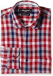 Dennison Men's Formal Shirt (SS-16-393_40_Red)