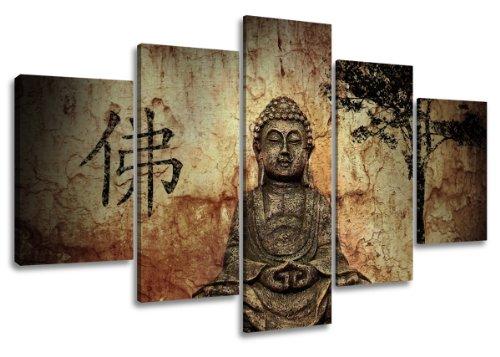 Quadro su tela Buddha 160 x 80 cm 5 tele modello nr XXL 5502. I quadri sono montati su telai di vero legno. Stampa artistica intelaiata e pronta da appendere