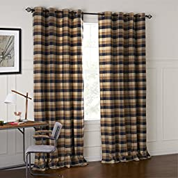 IYUEGO Country Retro Dark Colored Plaid Jacquard Grommet Top Lining Blackout Curtains Draperies With Multi Size Custom 42\