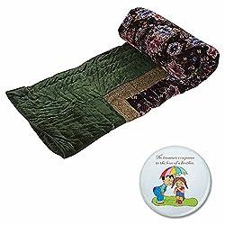 Little India Jaipuri Floral Design Velvet Cotton Single Bed Quilt - Green