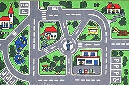 5X8 Street Area Rug Car Policeman Design Kids Play Road Fun Time Kid
