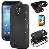 Galaxy S4 Case, S4 Case-ULAK 3in1 Combo Hybrid Hard Rigid PC + Soft Silicone Protective Case Cover for Samsung Galaxy S4 IV i9500 (Black+Black)