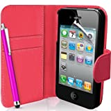 Supergets® Apple iPhone 4 and 4S Hot Pink Wallet Case Cover, Screen Protector, Touch Screen Stylus And Polishing Cloth