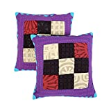 Beautiful Set Of 2 Cushion Cover Chevron Purple 16 X 16 Cotton Pillow Cases