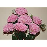 pink artificial carnation silk flowers grave/home 7 heads