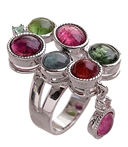 Ring 925 Silver, Rhodium-Plated, with Tourmaline Asia Top quality gift idea