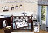 Modern Blue and white Stars and Moons Baby Boy Bedding 9pc Crib Set by Sweet Jojo Designs