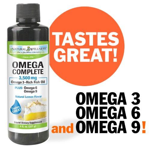 Natural Wellness Omega Complete Emulsified Liquid Fish Oil, Epa/Dha, Lemon Flavor - 8 Fl. Oz