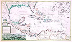 Historical Map of the Caribbean, 1715, Antique Map Wall Art (used in Pirates II!)