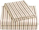 Regency Collection 310-Thread-Count Maxine Stripe Queen Sheet Set, Burgundy