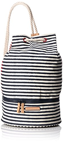 Tommy HilfigerBEACH STRIPES DRAWSTRING BAG - Borse a Tracolla Donna , Multicolore (Mehrfarbig (Turtledove / Midnight / Scooter Red 910 910)), 40x26x20 cm (B x H x T)