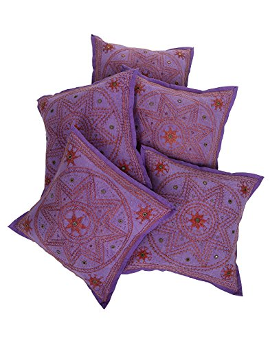 Rajrang Sofa Décor Kantha Work Cushions Designer Cushion Cover Set 5 Pcs