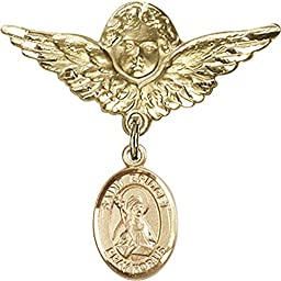 Gold Filled Baby Badge with St. Bridget of Sweden Charm and Angel w/Wings Badge Pin 1 1/8 X 1 1/8 inches