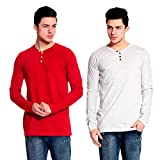 Lemon & Vodka Combo Pack Of 2 Henley Mens Solid Tshirt-CMB-6