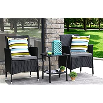 Baner Garden 3 Pieces Outdoor Furniture Complete Patio Cushion PE Wicker Rattan Garden Dining Set, Full, Black (Q16)