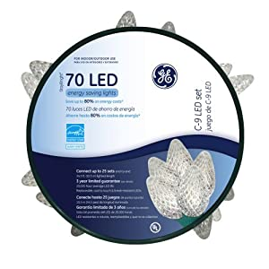 Amazon.com : GE C9 70 ct. LED Faceted Warm White String Lights on a Reel - Green Wire : Led ...