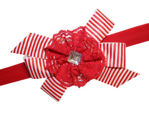 Webb Direct 2U Baby-Girls Red & White Candy Cane Striped Hair Bow Headband G6041