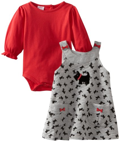 Blueberi Boulevard Baby-girls Newborn Scotty Printed Knit Jumper With Knit Top, Red, 3-6 Months