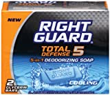 Right Guard Total Defense 5 in1 Deodorizing Soap Cooling Bar, 4 oz (2 bars)