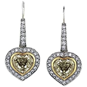 Fancy Yellow Diamond 18K Two Tone Gold Heart Shaped Drop Earrings