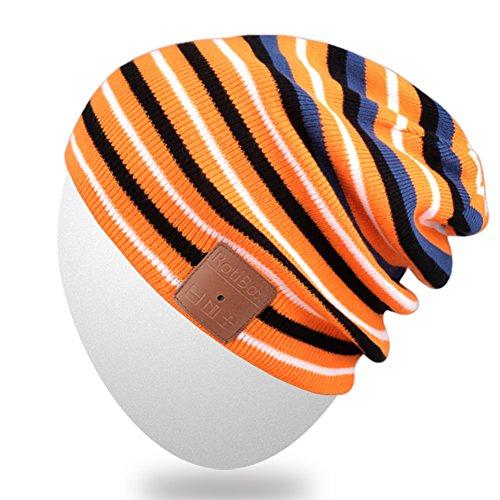 Bluetooth Cappello Beanie, Mydeal Slouchy Skully Striscia Cap con la cuffia senza fili Bluetooth Auricolare Musica audio a mani libere telefonata per sport invernali Fitness palestra di esercitazione di allenamento - nero / arancio