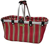 JanetBasket Large Aluminum Frame Basket, 18-Inch x 10-Inch x 9.5-Inch, Red Stripes by NCM Canada, Inc.