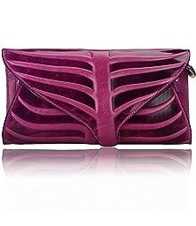 Pijushi Leaf Designer Handbags Embossed Leather Clutch Bag Cross Body Purses 22290 (One Size, Purple)