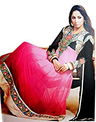 Zerel Womens Georgette Anarkali Semi-Stitched Dress Material (Ze-768 _Pink)
