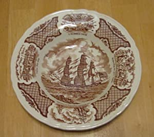 Alfred Meakin Large Rim Soup Bowl Brown Fair Winds