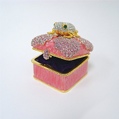 Exquisite Frog Trinket Box set with Swarovski Crystals Pink Figurine with Ring Insert