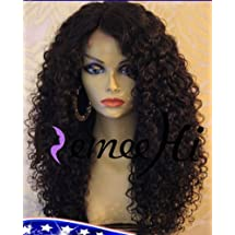 """NEW Remeehi 18""""-24"""" Kinky Curly Brazilian Human Hair Full Lace Wigs High Density 180% Bleached Knots (24"""" 1b#)"""