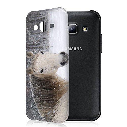 Pferde 10027, Weißes Pferd, Das Kristallklare Ultradünn Gel Crystal Silikon Handyhülle Schutzhülle Handyschale mit Farbig Design für Samsung Galaxy J5