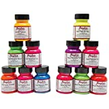 Angelus Leather Paint, Set of 12 Neon Colors, 1oz Jars - Pack of 5 (Tamaño: Pack of 5)