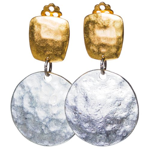 Two-Tone Hammered Textured Metal Disc Drop Fashion Earrings