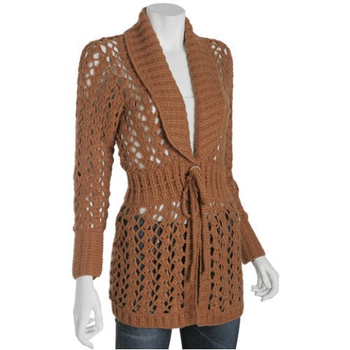 Buy Design History brown crochet sweater coat