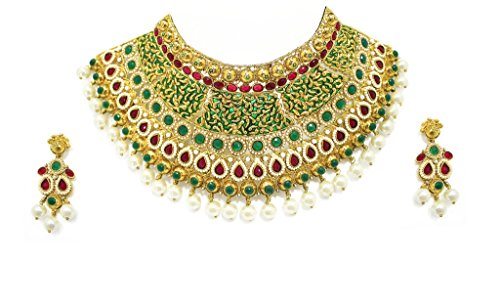 Zaveri Pearls Enamel Multi-Colour Choker Necklace With Earrings Set For Women