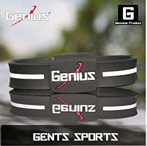 Genius Mens Sports Ionic Wristband - Black and White & Red.
