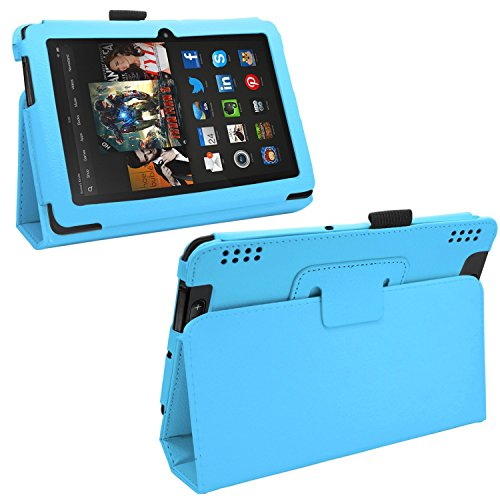 """Samrick - Amazon Kindle Fire Hdx 7"""" Inch - Executive Specially Designed Leather Book Folio Wallet Case With Exclusive Viewing Stand - Sky Baby Blue"""