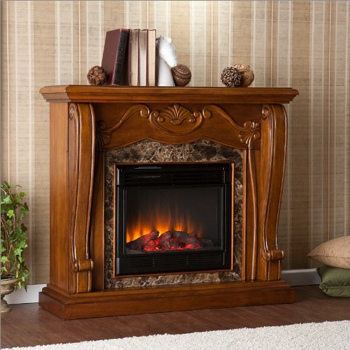 Southern Enterprises Bloomsbury Electric Fireplace in Walnut