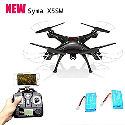 Syma X5sw 4 Channel Remote Controlled Quadcopter Drone with Hd Camera for Real Time Video Transmission (Black +2 batteries ) by Syma