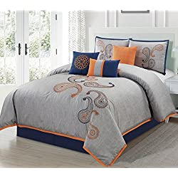 Chezmoi Collection Naomi 7-Piece Navy Orange Paisley Floral Embroidery Comforter Bedding Set (Queen)
