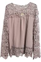 Pink Wind Women's Plus Size Lace Embroidery Crochet Chiffon Shirts T-Shirts