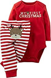 Carter\'s Baby Boys\' Christmas 2-Piece Bodysuit & Pant Set (3 Months, Red Reindeer)