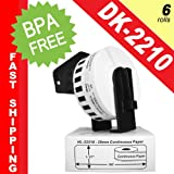 """BROTHER-Compatible DK-2210 Continuous Paper Labels with ONE (1) reusable black cartridge (1-1/7"""" x 100; 29mm*30.48m) -- BPA Free! (6 Rolls; Continuous Paper)"""